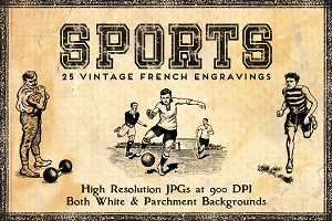 25 Vintage French Sports Engravings