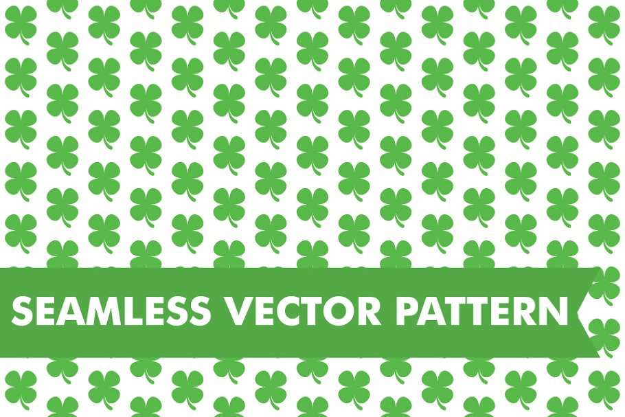 Four Leaf Clovers Seamless Pattern