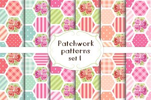 Patchwork seamless patterns set#1