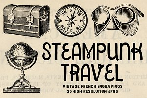 25 Steampunk Travel Engravings