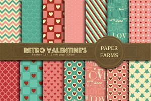 Retro Valentine digital paper