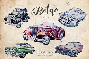 Watercolor Retro Cars Clipart