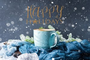 Winter card with coffee wishing Happy holidays