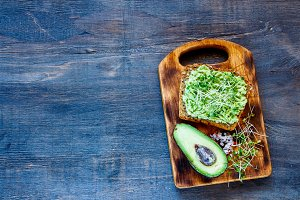 Toast with avocado and sprouts