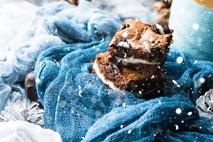 Cream cheese brownies with falling snow effect