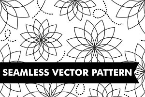 Black & White Flowers Pattern Vector