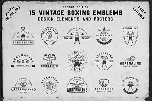 15 Vintage boxing emblems
