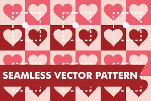 Heart Quilt Seamless Vector Pattern