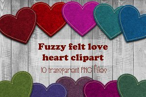 Fuzzy felt love hearts