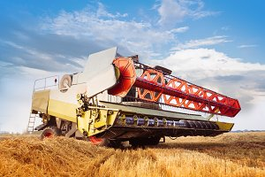 Combine-harvester in work