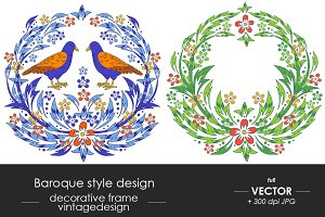 Baroque design with flowers, birds