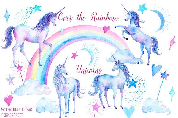 Watercolor Clipart Unicorns