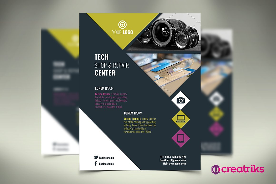 tech shop flyer flyer templates creative market