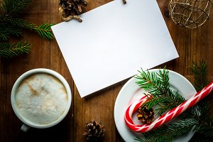 Christmas coffee latte with notebook