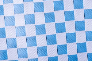 White and blue colored check