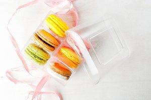 Gift box with cakes macaron