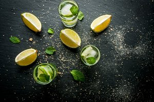 Refreshing lime mojito or tequila