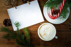 Christmas coffee with notebook