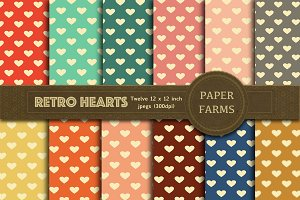 Retro hearts digital paper