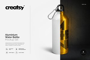 Aluminium Water Bottle Mockup Set