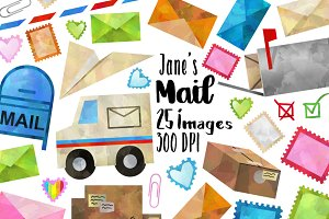 Postage Mail Clipart Set