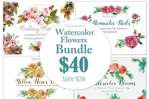 Watercolor Flowers Bundle of 4