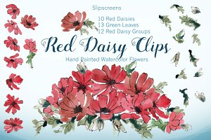 Red Daisy Design Elements