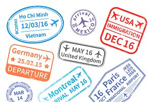 International travel visa stamps