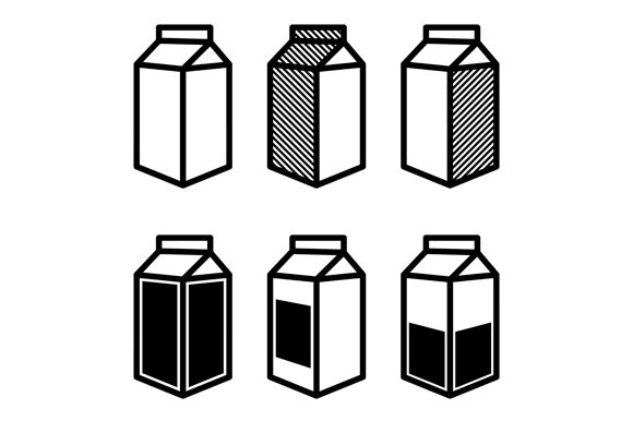 Milk And Juice Box Icons Set