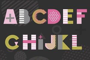 Alphabet in memphis style + Bonus