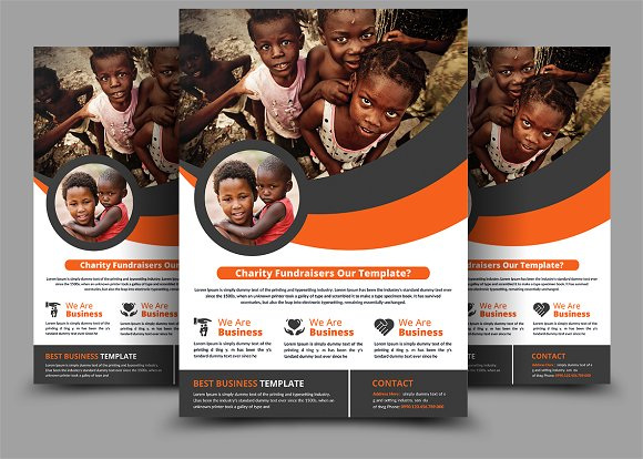 charity fundraisers flyer flyer templates creative market