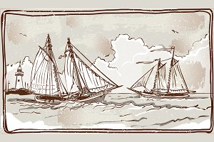 Vintage View of Sailing Ships