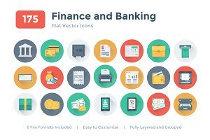 175 Flat Finance and Banking Icons