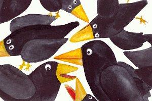 15 Watercolor Crows Clip Art Set
