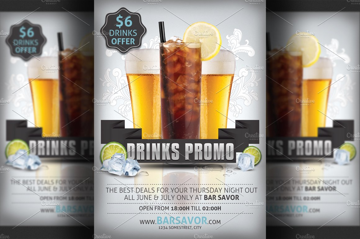 Drinks Promo Flyer Template Flyer Templates on Creative Market – Bar Flyer Template