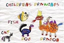 Set Children's drawings.