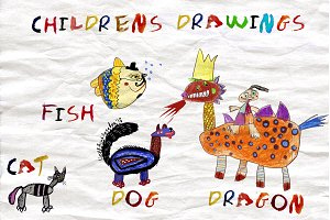 Set Children's drawings.