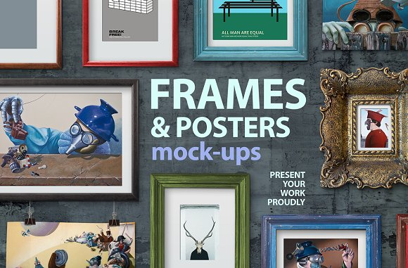 Frames and poster mock-ups-Graphicriver中文最全的素材分享平台