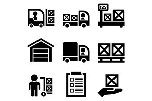 Warehouse Storage and Logistic Icons