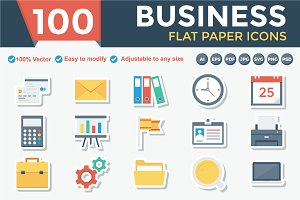 Business Flat Paper Icons