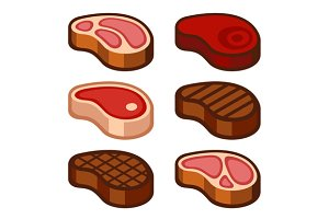 Steak Icons Set