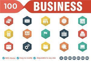 Business Glyphs Flat Icons