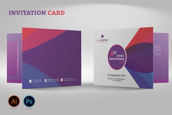 Annual meeting invitation card invitation templates creative market stopboris Choice Image
