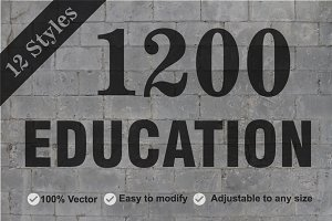 Educational 1200 Icons Bundle Pack