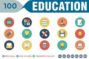 Educational Flat Circle Icons