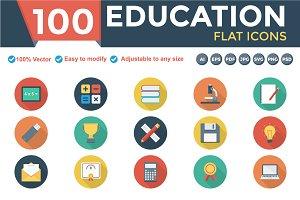 Educational Flat Circle Icons Shadow