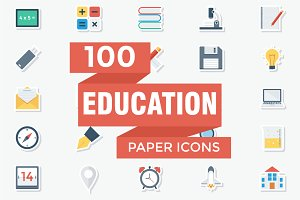 Educational Flat Paper Icons