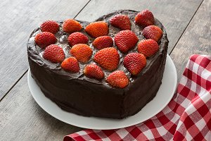 Heart shaped cake with strawberries