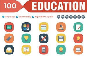 Educational Flat Square Icons