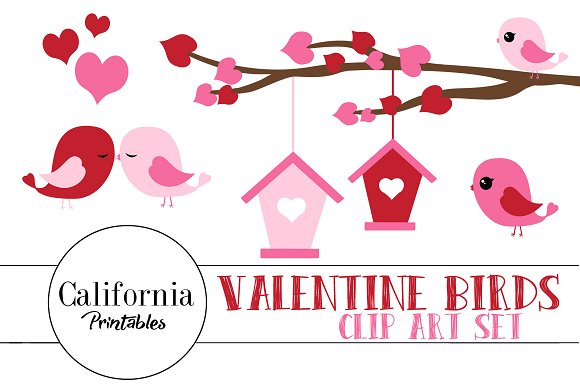Valentine Bird ClipArt Set